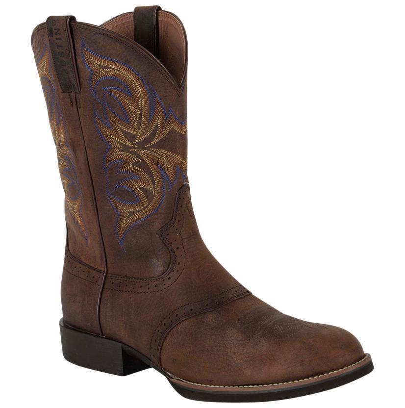 Justin Mens Cattleman Dark Brown Rawhide Round Toe Boots