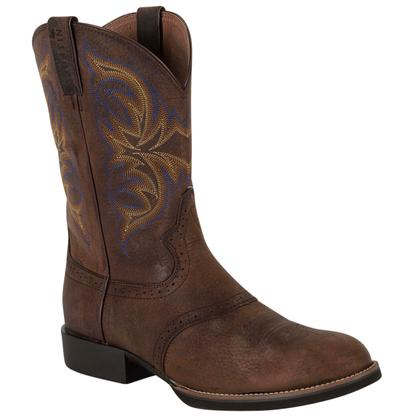 Justin Mens Cattleman Dark Brown Rawhide Round Toe Boots