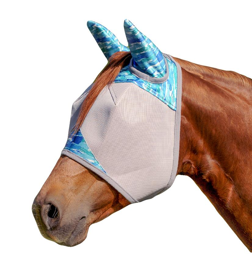 Cashel Patterned Standard Fly Mask With Ears - Blue Watercolor