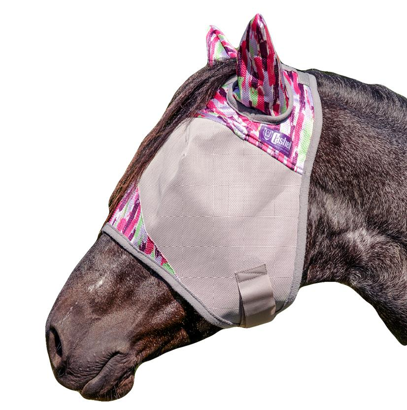 Cashel Patterned Standard Fly Mask With Ears - Pink Watercolor