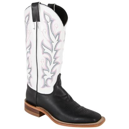 Justin Womens Bent Rail Black & White Burnished Calf Cowboy Boots
