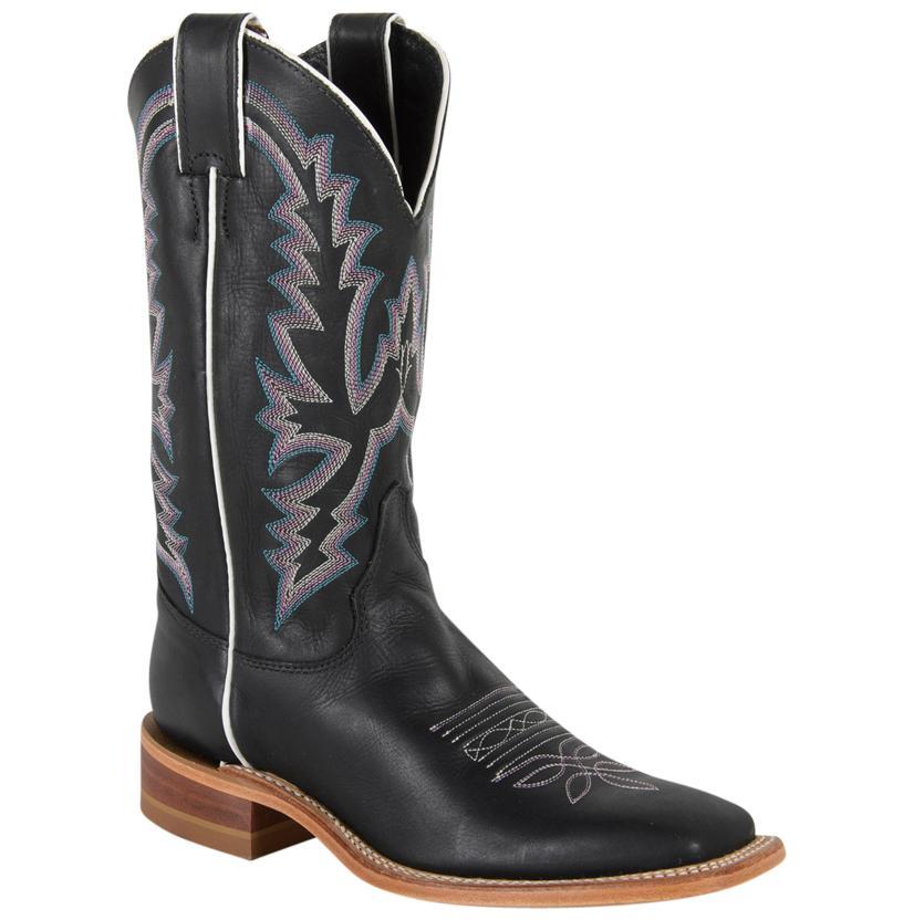 Justin Womens Bent Rail Black Burnished Calf Boots