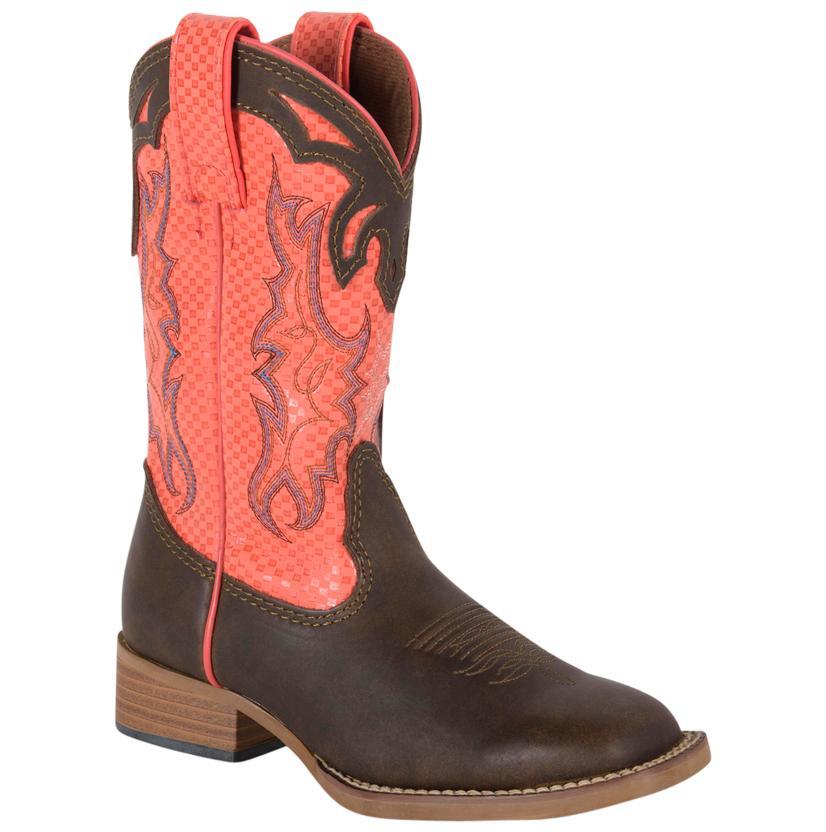 Justin Kids ' Bent Rail Dark Brown Apache Cowboy Boot