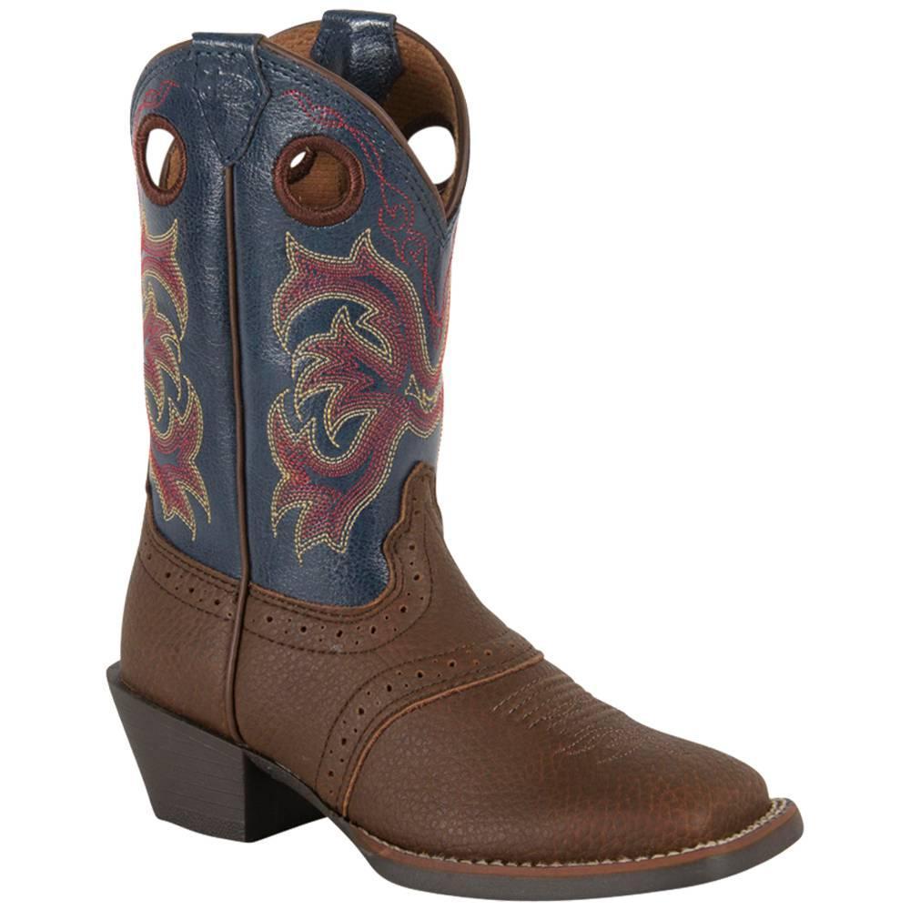 Justin Dark Brown Rawhide Toddlers ' Stampede Cowboy Boots