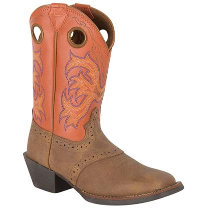 Justin Tan Dakotay Perfed Saddle Kid Boots