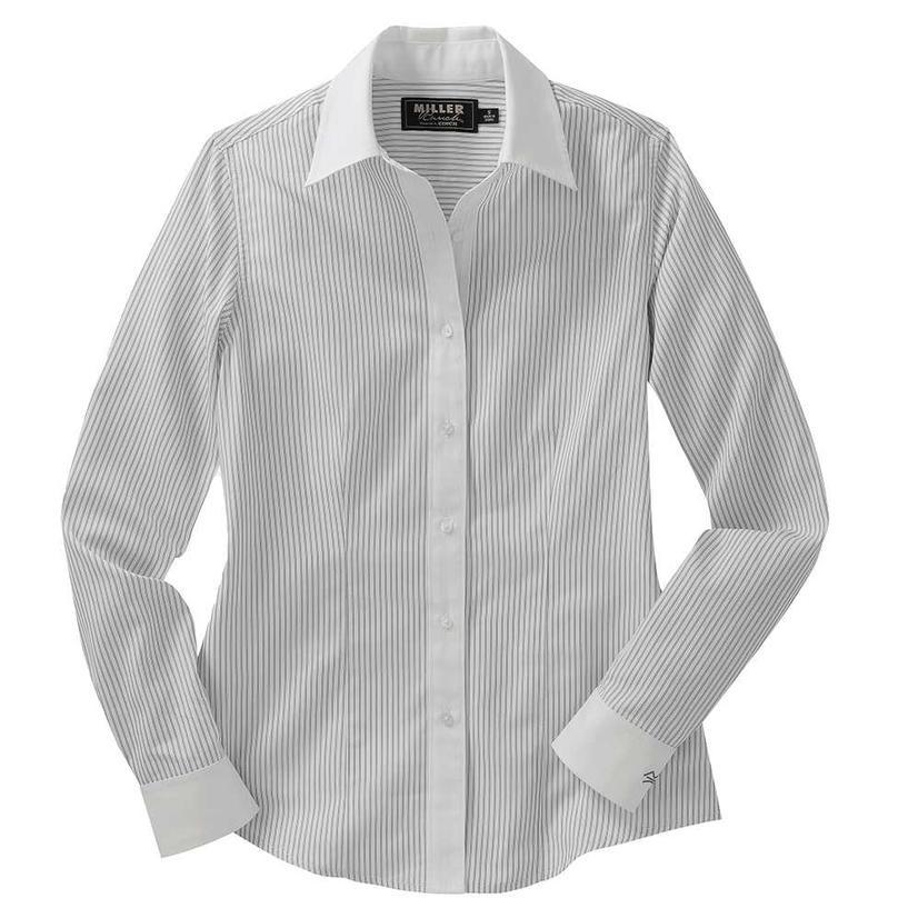 Miller Ranch Womens White Stripe Dress Shirt