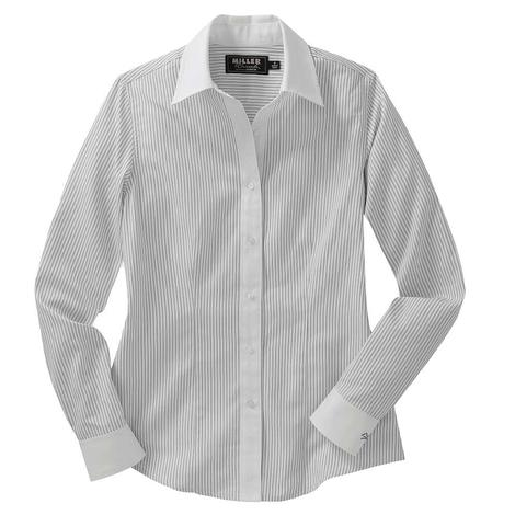 Miller Ranch Womens White Stripe Dress Shirt