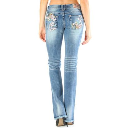 Grace in LA Womens Blooming Floral Jeans