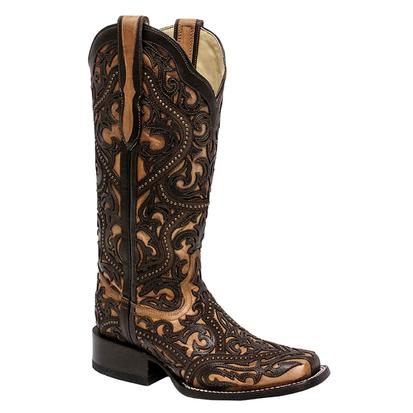 Corral Women's LD Brown Full Overlay Studded Boots