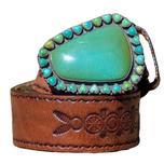 Peyote Bird Womens Turquoise Buckle Wagon Wheel Tooled Belt