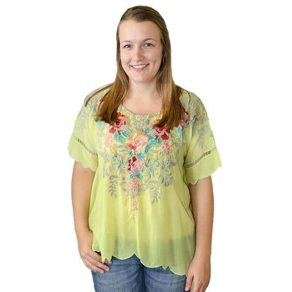 Johnny Was Womens Green Floral Jenn Top