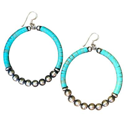 Navajo Pearl Turquoise Bead Hoop Earrings