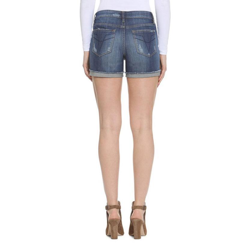 Vigoss Womens Denim Distressed Shorts