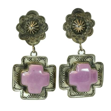 Purple Cross Stone Earrings