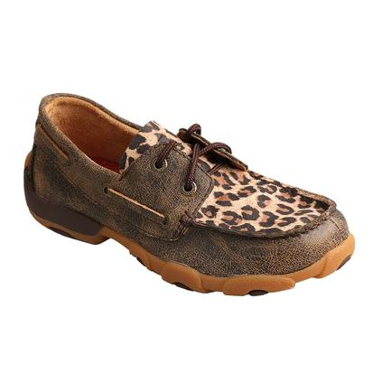 Twisted X Youth Distressed Leopard Driving Moc
