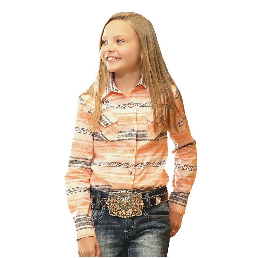 Cruel Girl Coral/Grey Snap Youth Western Shirt