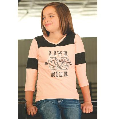Cruel Girl Pink Grey Live 2 Ride Baseball Tee