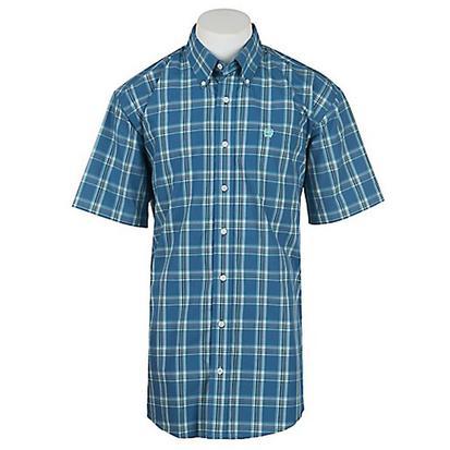 Cinch Mens Blue Plaid Short Sleeve Button Front Shirt