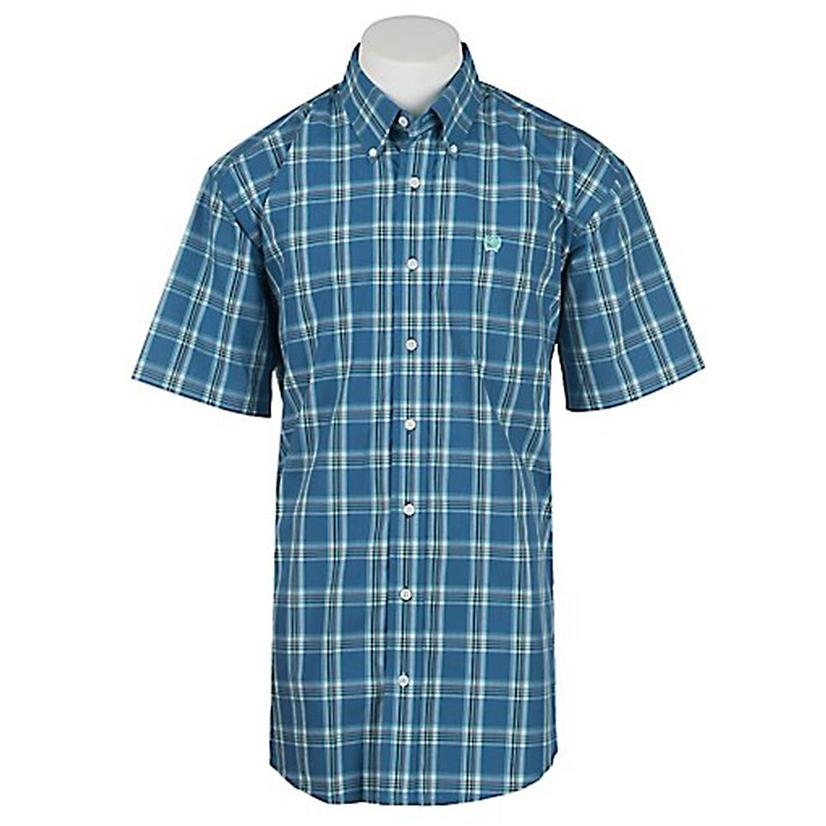 Cinch Mens Blue Plaid Short Sleeve Button Front Shirt - Extra Large Sizes