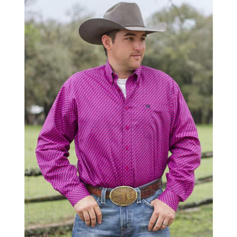 Cinch Mens Pink Geometric Print Button Down Western Shirt