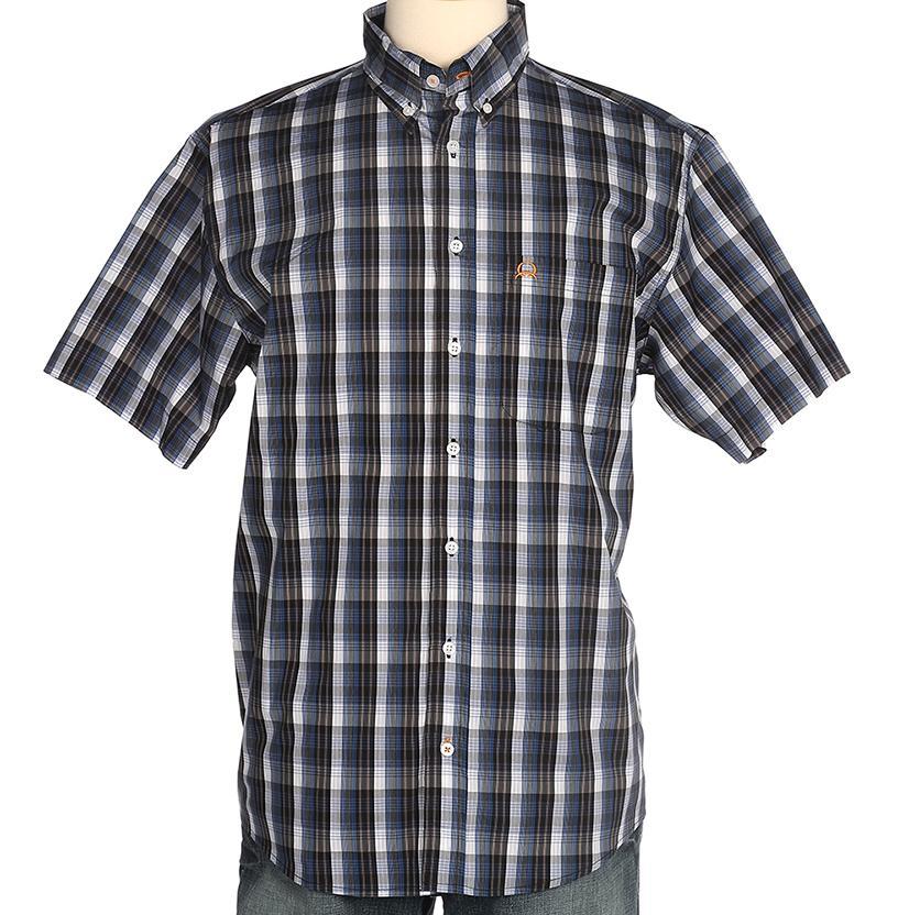Cinch Mens Black & Navy Plaid Arenaflex Button Down Shirt