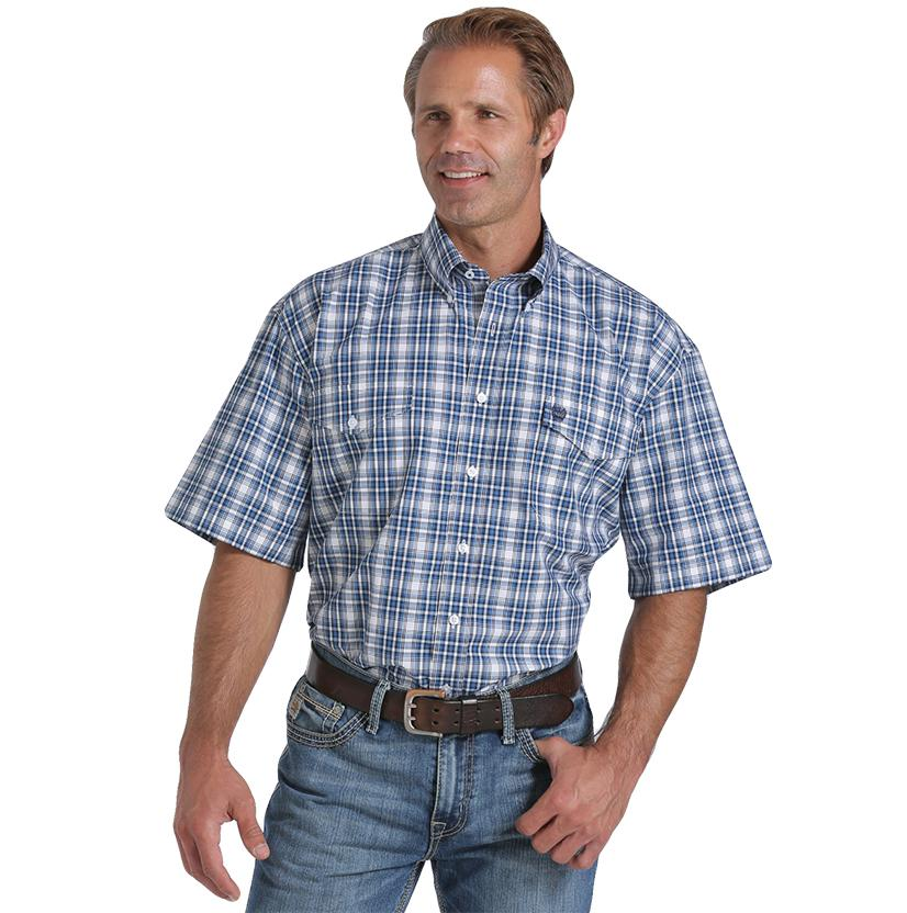 Cinch Mens Blue & Plaid Two Pocket Button Down Shirt