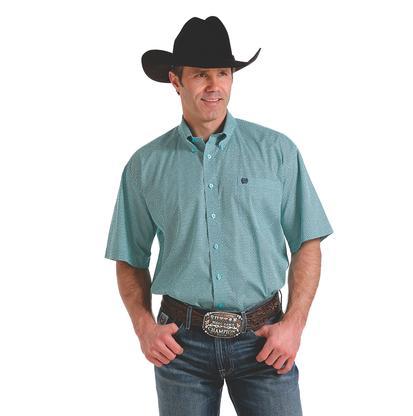 Cinch Men's Mint Blue Print Short Sleeve Shirt