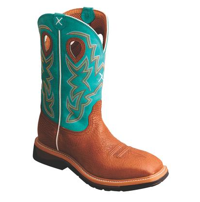 Twisted X Mens Cognac/Turquoise Lightweight Work Boots