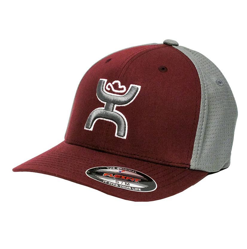 Hooey Maroon & Grey Flex Fit Cap