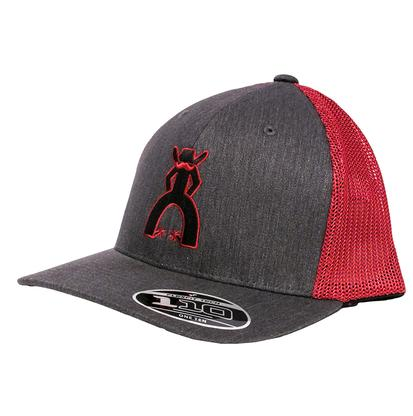 HOOey Men's Midland Grey & Red Mesh Cap