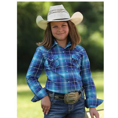Cruel Girl Purple & Blue Plaid Youth Western Shirt