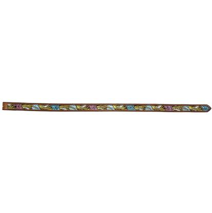 STT Brown Leather Tooled Belt with Metallic Hand Painted Floral Design