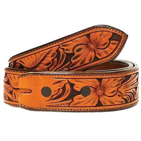 STT Brown on Black Floral Leather Belt