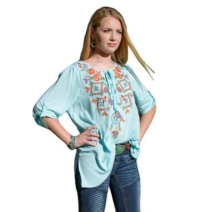 Bohemian Women's Mint Top by Navy Blue - Plus Size