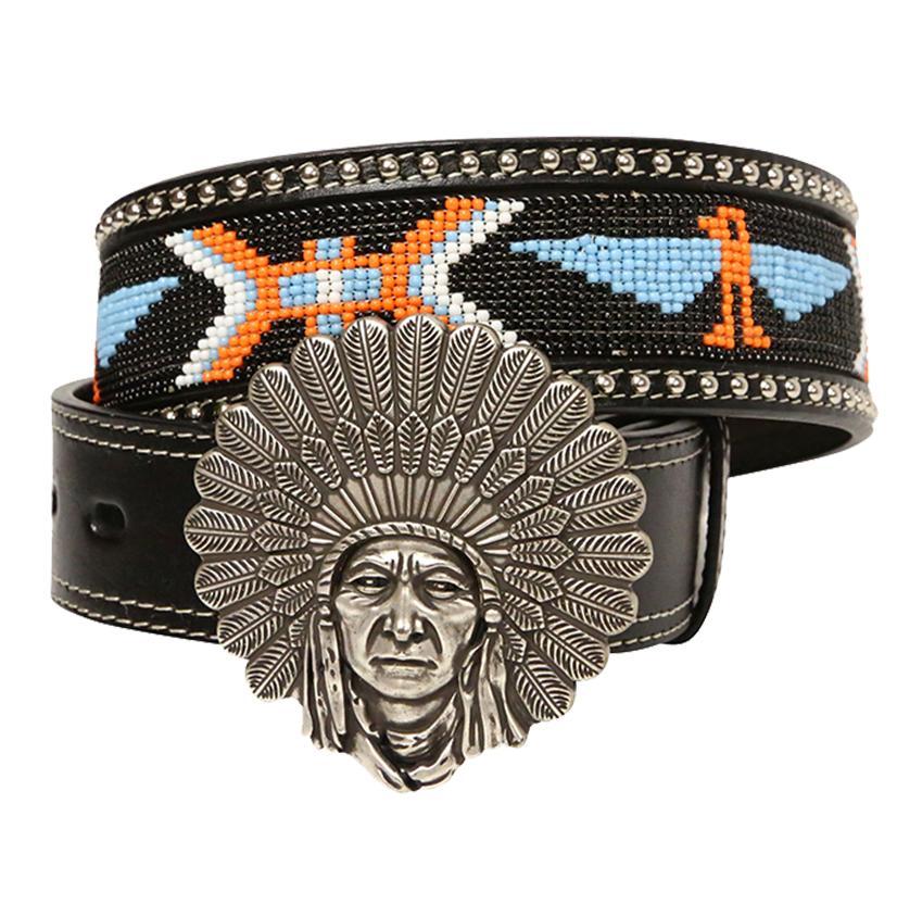 Angel Ranch Womens 1.75in Black Orange White Beaded Indian Belt