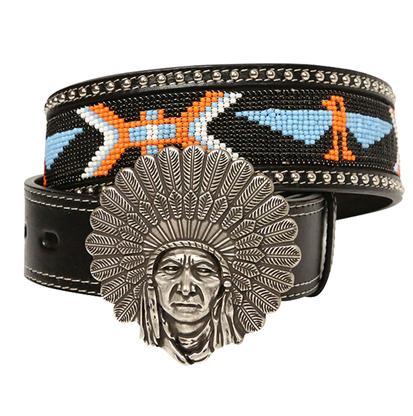 Angel Ranch Women's 1.75in Black Orange White Beaded Indian Belt