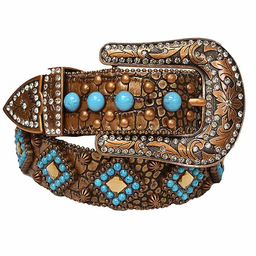 Angel Ranch Womens Copper Skin And Turquoise Belt