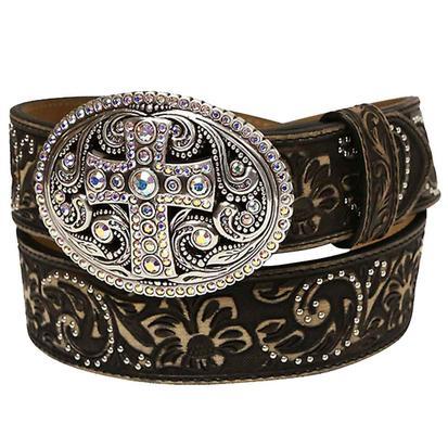 Justin Womens 1.5in Black Tan Vintage Cross Tool Silver Stud Belt