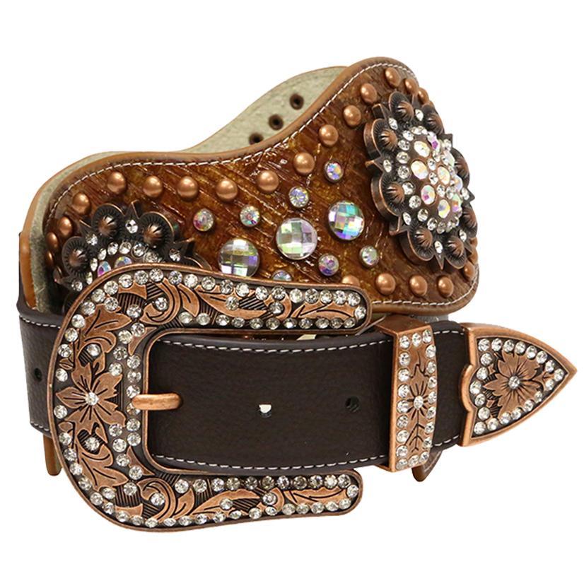 Angel Ranch Womens 3in Brown Basket Weave Copper Rhinestone Leather Belt