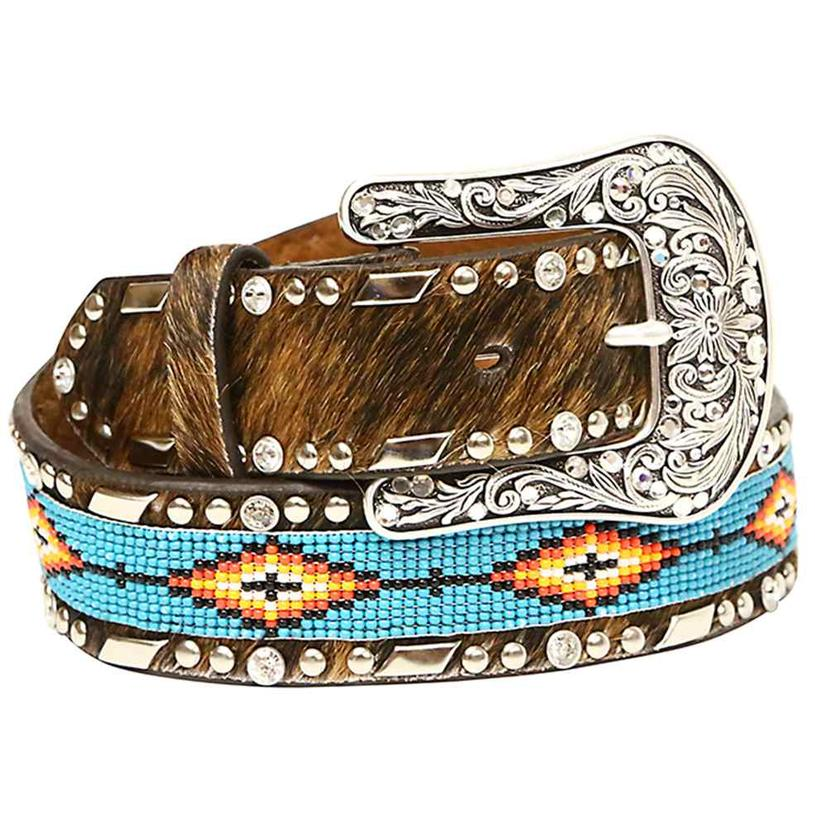 Ariat Womens Calf Hair And Turquoise Bead Belt