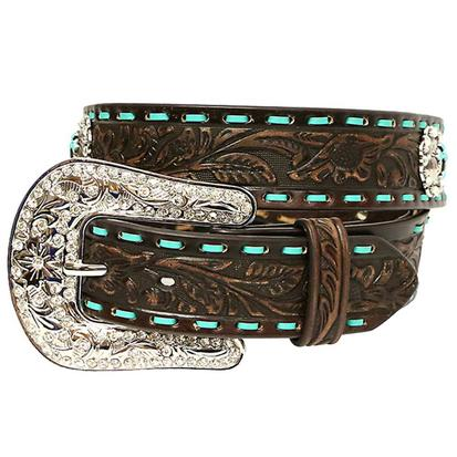 Nocona Womens Dark Brown and Turquoise Lace Stitch Belt