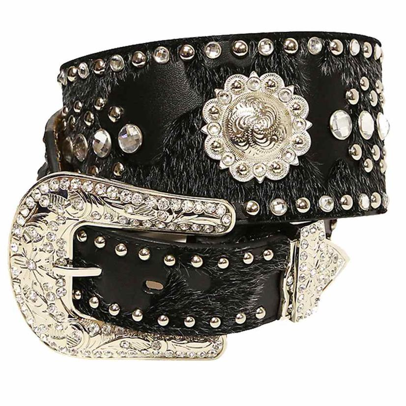 Ariat Women's 3in Black Fur And Silver Stud Concho Rhinestone Belt