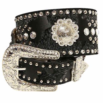 Ariat Women's 3in Black Fur and Silver Stud Concho Rhinestone Belt