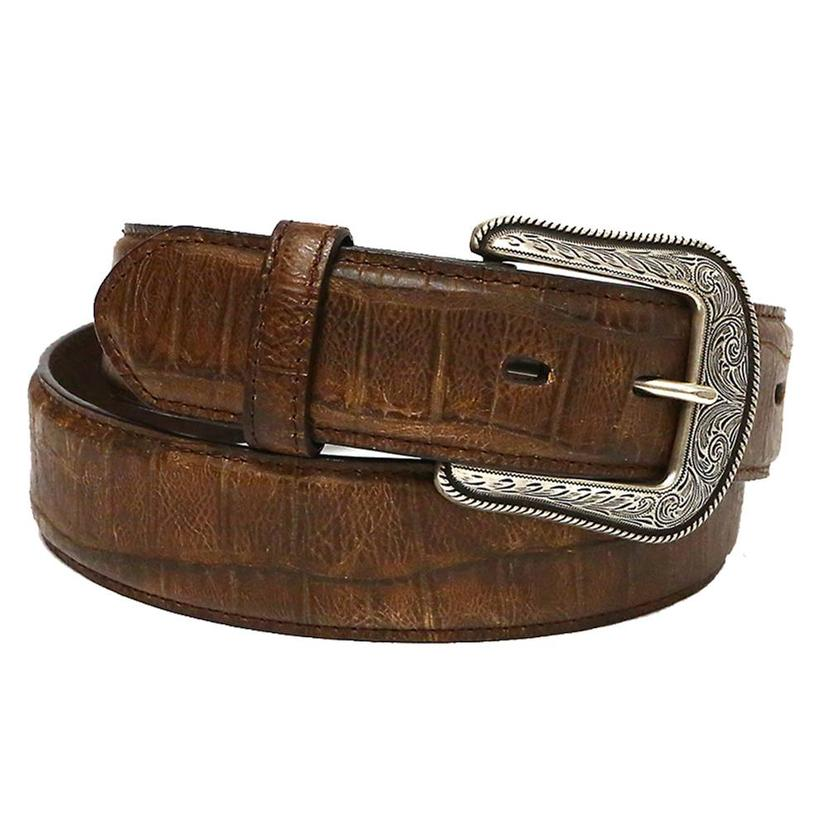 3d Mens 1.5in Dark Brown Gator Print Leather Belt