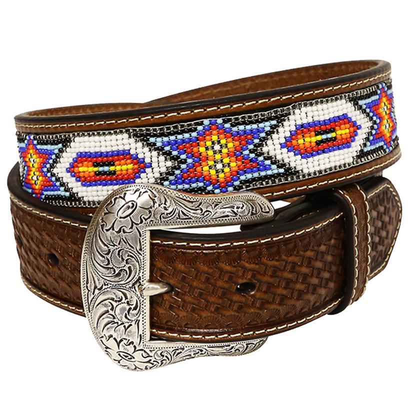 Nocona Mens 1.5in Brown Basketweave Leather White Blue Orange Bead Belt