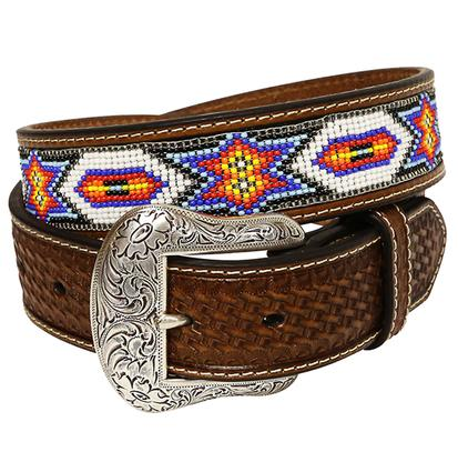 Nocona Mens 1.5in Brown Basketweave Leather White Blue Orange Bead Belt