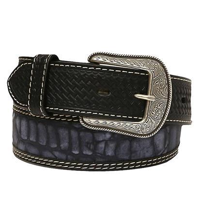 3D Mens 1.75in Blue Nile Gator Print Inlay Black Basket Weave Belt