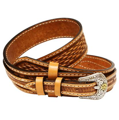 Double J Mens 1.5in Natural Basketweave Leather Ranger Style Belt