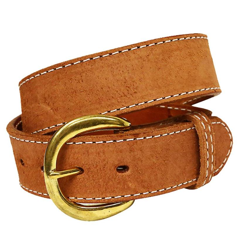 j mens 1 5in chestnut leather white stitch belt
