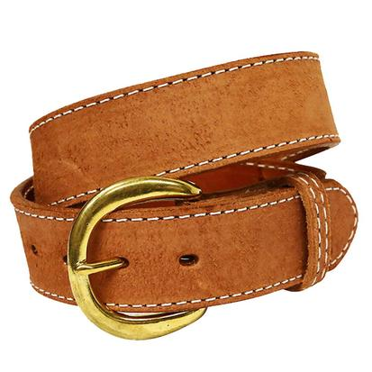 Double J Mens 1.5in Chestnut Leather White Stitch Belt